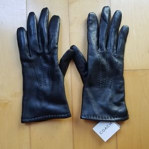 Coach Cashmere Lined Leather Gloves NWT